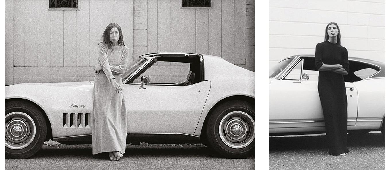 Joan Didion in una foto del 1968 di Julian Wasser e la campagna di Céline del 2015 con Daria Werbovy fotografata da Tyrone Lebon