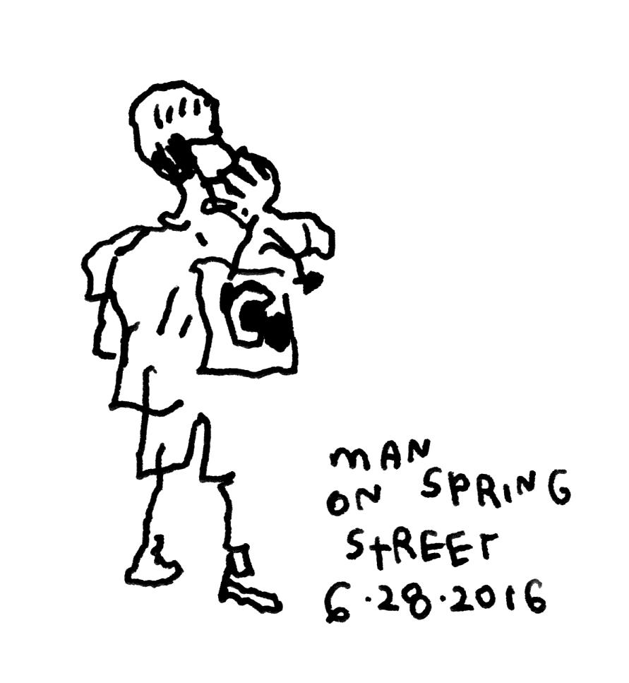 5172. Man on Spring Street 6-28-2016